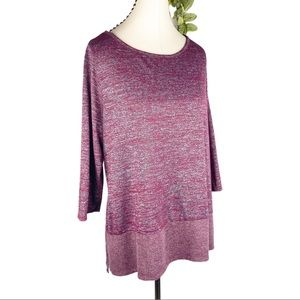Lane Bryant Maroon Marled Knit Lunge Tunic Top